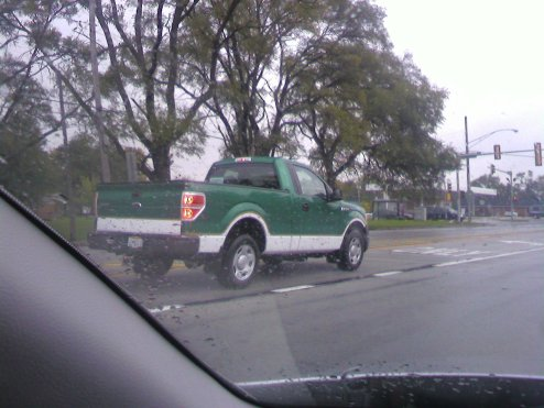 This is a truck that I keep seeing on my way to school. I finally got a pretty decent picture. I am not normally a huge fan of green for a vehicle, but this bright green with two-tone looks really cool. It's a retired guy driving, but that shouldn't matter, right?